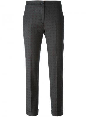 Укороченные брюки с мелким узором Etro. Цвет: серый