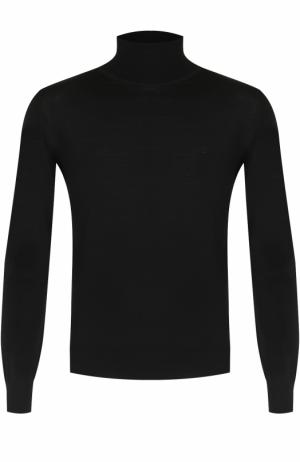 Шерстяная однотонная водолазка Brioni. Цвет: черный