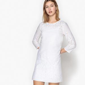 Платье однотонное расклешенного и короткого покроя с рукавами 3/4 SCHOOL RAG. Цвет: белый