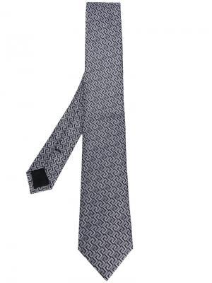 Галстук с классической вышивкой Versace. Цвет: серый