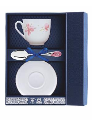Набор чайный Ландыш-Розовые цветы 3 предмета АргентА. Цвет: серебристый