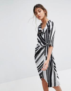Closet London Платье в полоску с запахом. Цвет: мульти