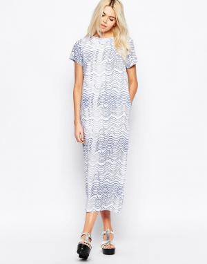 The WhitePepper Платье-рубашка макси с волнообразным принтом. Цвет: синий