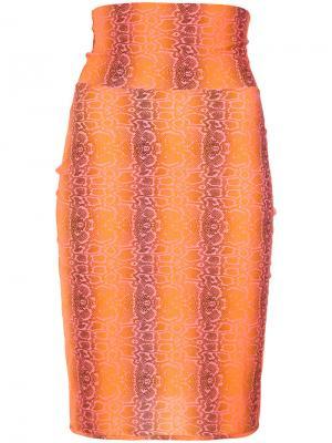 Python print skirt Amir Slama. Цвет: жёлтый и оранжевый