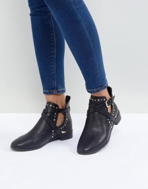 Miss KG Ботинки на плоской подошве с заклепками Seb. Цвет: черный