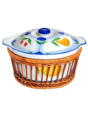 Кастрюля керамическая в плетеной корзине (духовка/гриль/микроволновка) 1,5 л BAYERHOFF. Цвет: молочный