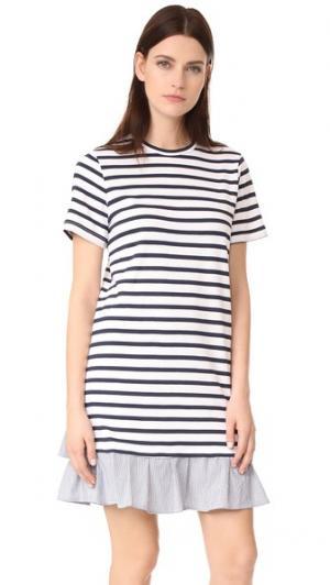 Платье-футболка с оборками Clu. Цвет: комбинированная полоска