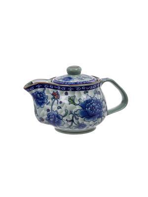 Чайник большой Хива Elff Ceramics. Цвет: белый, синий