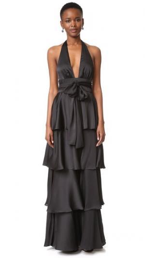 Вечернее платье с V-образным вырезом оборками Jill Stuart. Цвет: голубой
