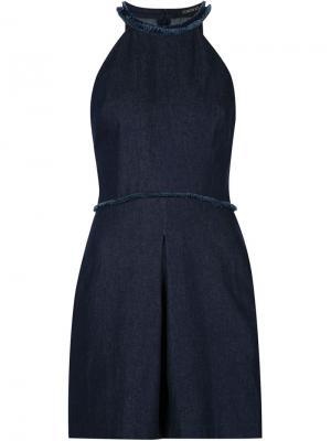 Джинсовое платье с краями бахромой Timo Weiland. Цвет: синий