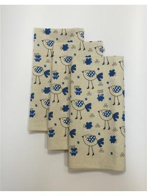 Набор-полотенец, 3 шт A and C Collection. Цвет: синий, бежевый