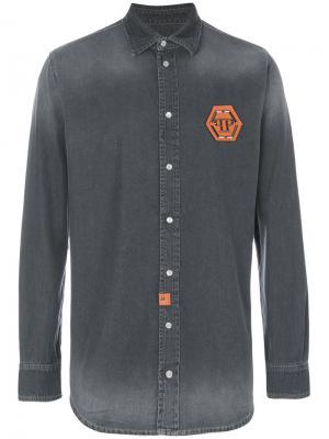 Джинсовая рубашка Eisuche Philipp Plein. Цвет: серый