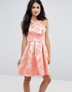 Forever Unique Платье со складками и принтом. Цвет: мульти