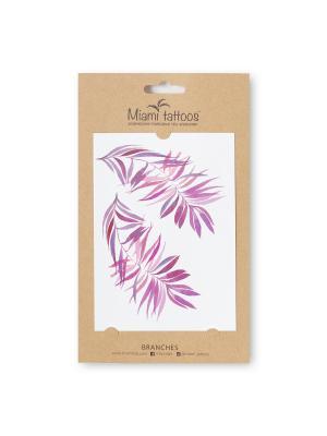 Акварельные переводные тату Miami Tattoos Branches. Цвет: сиреневый, бледно-розовый, фуксия, розовый