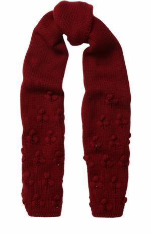 Кашемировый шарф фактурной вязки с бусинами Loro Piana. Цвет: бордовый