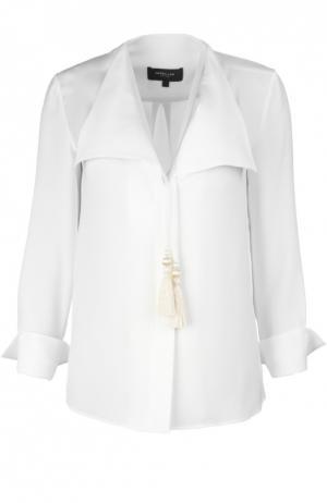 Прямая блуза с V-образным вырезом и золотыми кистями Derek Lam. Цвет: белый