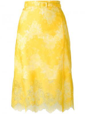 Кружевная юбка Carven. Цвет: жёлтый и оранжевый
