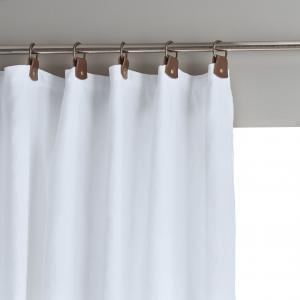 Штора затемняющая из стираного льна с кожаными шлевками, Private AM.PM.. Цвет: серый