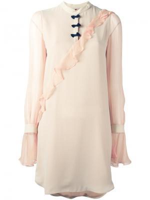 Платье с оборками Marco De Vincenzo. Цвет: телесный