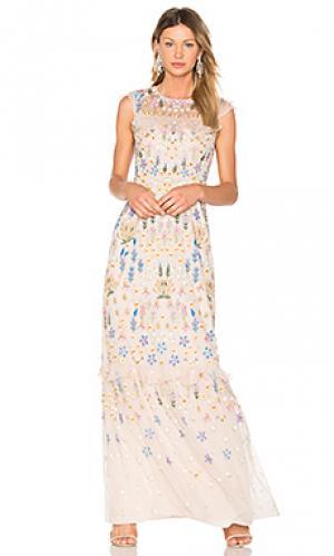 Вечернее платье с вышивкой flowerbed Needle & Thread. Цвет: румянец
