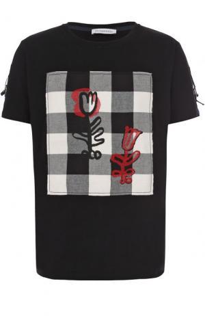 Хлопковая футболка с отделкой J.W. Anderson. Цвет: черный
