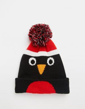 7X Шапка с дизайном пингвина и помпоном. Цвет: черный