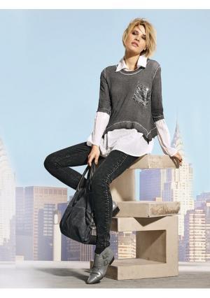 Комплект: кофточка + блузка Mandarin. Цвет: серый меланжевый