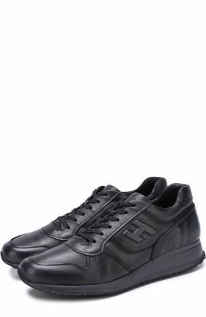 Кожаные кроссовки на шнуровке Hogan. Цвет: темно-синий