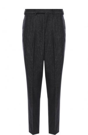 Шерстяные брюки прямого кроя со стрелками Ermenegildo Zegna. Цвет: темно-синий