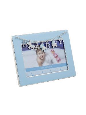 Фоторамка BABY, голубая, металлическая 10х15см PLATINUM quality. Цвет: голубой
