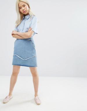 MiH Jeans Джинсовая мини-юбка с отделкой бахромой M.i.h. Цвет: синий