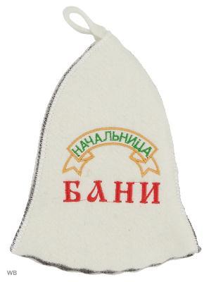 Шапка для бани с вышивкой в косметичке Начальница Метиз. Цвет: белый, серый