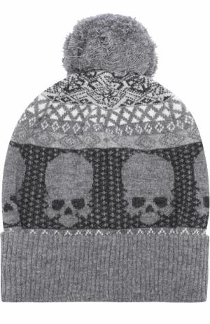 Шерстяная шапка с помпоном Gemma. H. Цвет: серый