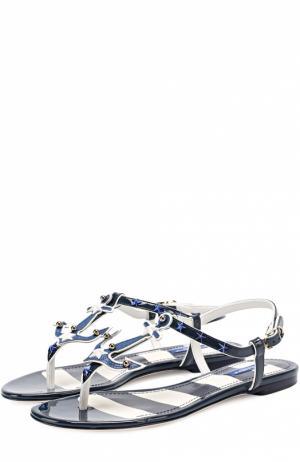 Кожаные сандалии с заклепками Dolce & Gabbana. Цвет: синий