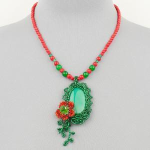 Авторский кулон цветочный вальс нефрит, имитация коралла Бусики-Колечки