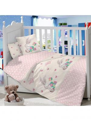 Комплект постельного белья в детскую кроватку из сатина (простыня на резинке) Ивбэби. Цвет: розовый, молочный