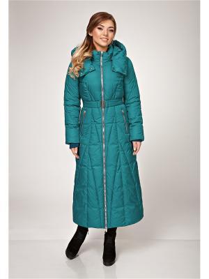 Пальто, пояс D`imma. Цвет: бирюзовый