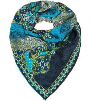 Разноцветный шелковый платок ELEGANZZA. Цвет: цветочный принт