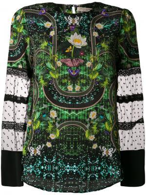 Блузка с цветчоной вышивкой Piccione.Piccione. Цвет: зелёный
