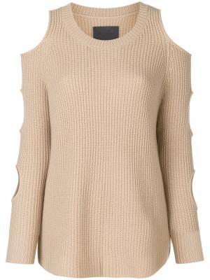 Пуловер с разрезами на рукавах Zoe Jordan. Цвет: телесный