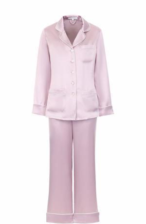 Шелковая пижама Olivia Von Halle. Цвет: сиреневый