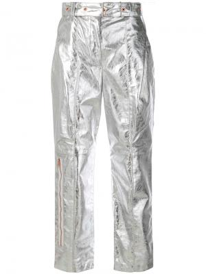 Leather Belted Straight Pant Proenza Schouler. Цвет: металлический