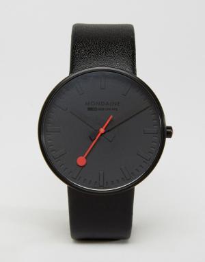 Mondaine Черно-белые часы с циферблатом диаметром 42 мм Giant. Цвет: черный