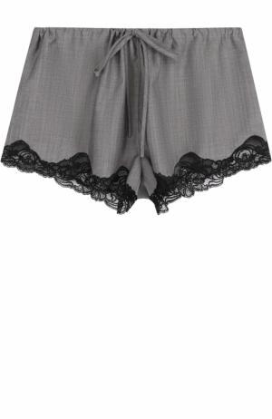 Мини-шорты с эластичным поясом и кружевной отделкой Alexander Wang. Цвет: серый