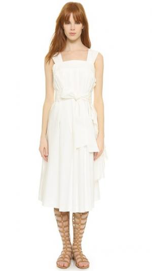 Белое платье из хлопка Leur Logette. Цвет: белый
