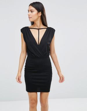 Rare Платье мини с отделкой ремешками. Цвет: черный