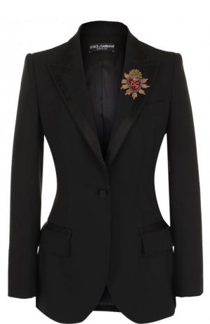 Приталенный однотонный жакет из смеси шерсти и шелка Dolce & Gabbana. Цвет: черный