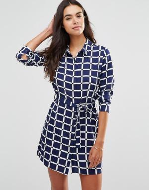 Unique 21 Клетчатое платье-рубашка в стиле oversize. Цвет: темно-синий