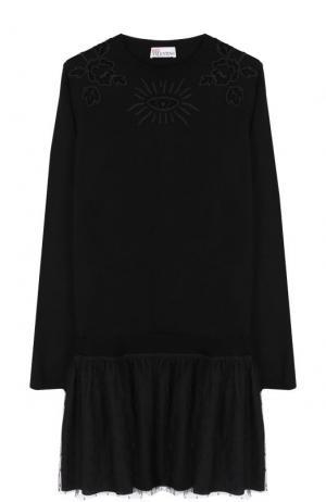 Шерстяное мини-платье с длинным рукавом и круглым вырезом REDVALENTINO. Цвет: черный