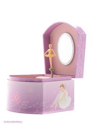 Музыкальная шкатулка с фигуркой в форме трапеции Jakos. Цвет: фиолетовый, розовый, белый